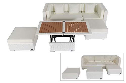 OUTFLEXX - Juego de Muebles de jardín (ratán sintético, para 5 Personas, Incluye Mesa de café), Color Blanco