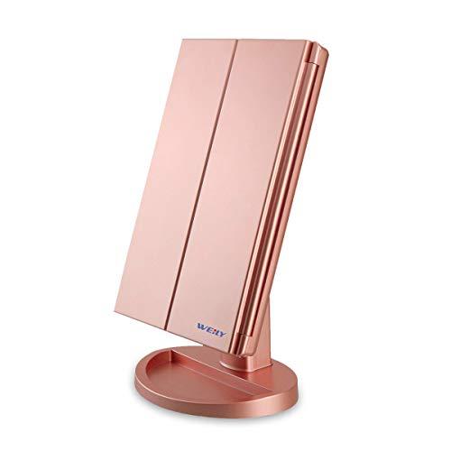 WEILY Espejo de Maquillaje, 1x / 2X / 3X Magnificación Triple Espejo Plegable Lámpara LED con 36 Luces LED Pantalla táctil y Carga USB Rotación de 180 Grados con mostrador (Oro Rosa)