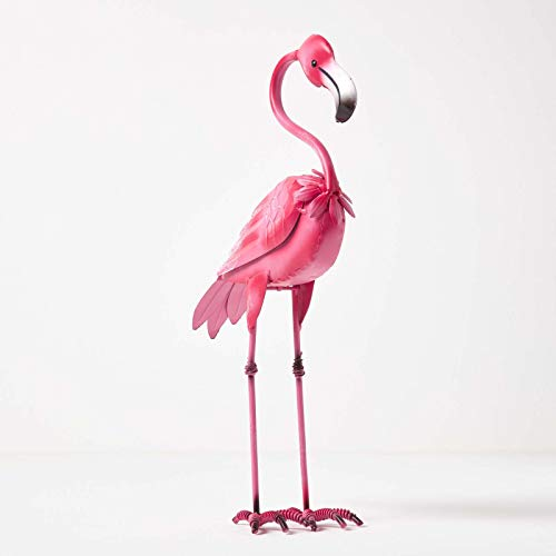 HOMESCAPES Metal Garden Dark Pink Flamingo Statue with Detailed Feathers Handcrafted from 100% Iron Free Standing Lawn Ornament Decoration, 38 cm Tall