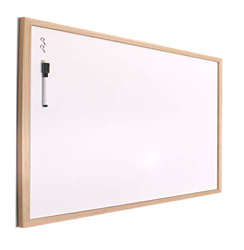 H HANSEL HOME - Pizarra Blanca con Marco de Madera Natural - 40X60 cm