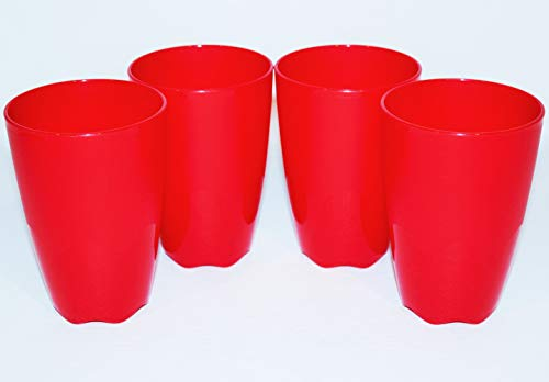 Tupperware Set of 4 Tumblers 18 Ounce Open House Cups Floresta Red
