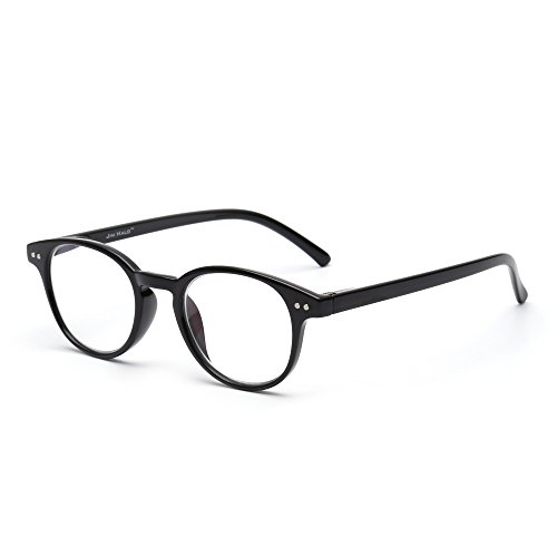 online glasses retailers Anti Blue Light Retro Spring Hinge Round Computer Reading Glasses Gaming Readers Reduce Eye Fatigue +0.0 Shiny Black
