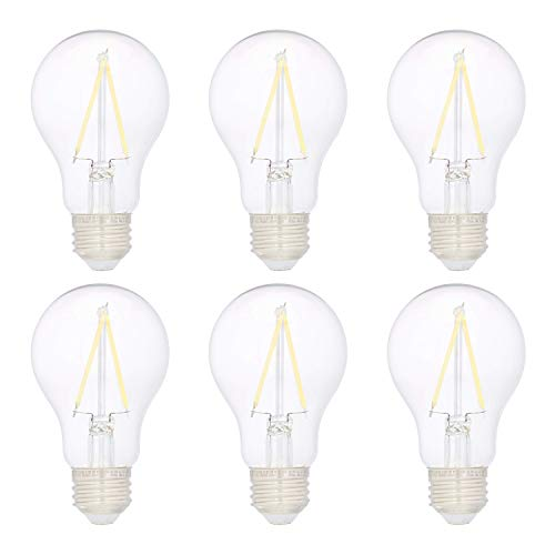 AmazonBasics 40W Equivalent, Clear, Daylight, Non-Dimmable, 10,000 Hour Lifetime, A19 LED Light Bulb | 6-Pack