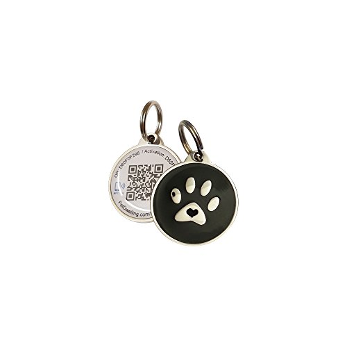 PetDwelling Smart Touch Black Paw NFC/QR Code Pet ID Tag Links to Online Profile/Emergency Contact/Medical Info/Google Map Location Stamp