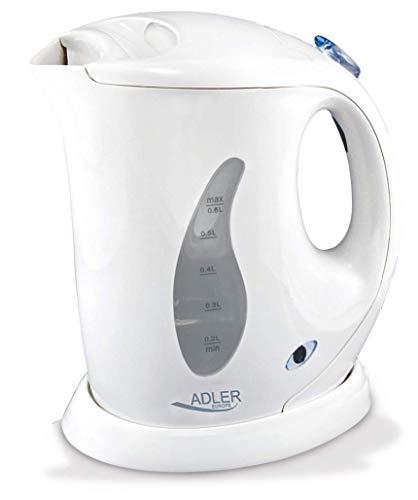 adler AD 02 Hervidor de Agua Eléctrico, 760 W, 0.6 litros, 0 Decibeles, Polímero Libre de BPA, Blanco