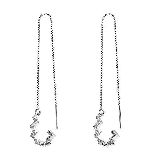Pendientes de cadena chapados en plata con diseño de ondas, para mujer
