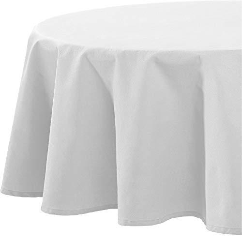 REDBEST Tischdecke, Tischwäsche Uni Seattle, 100% Baumwolle - Robustes, glattes Gewebe, weiß Größe oval 140x190 cm (weitere Farben, Größen)