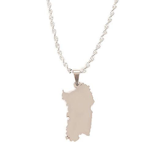 Edelstahl Silber Farbe Italien Sardinien Karte Halskette Trendy Sardinien Karte Kette Schmuck Halskette Länge 50 cm
