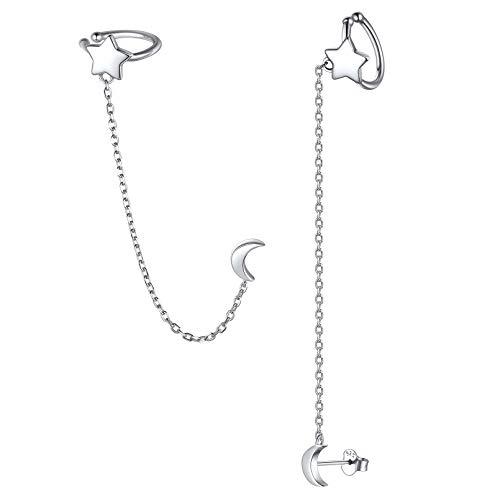 Estrella Luna Pendientes Largos de Cadena Plata de Ley 925 Pendientes de Piercing Falso para Cartílago Chapado en Oro Blanco Ear Cuffs Modernos para Mujeres y Muchachas