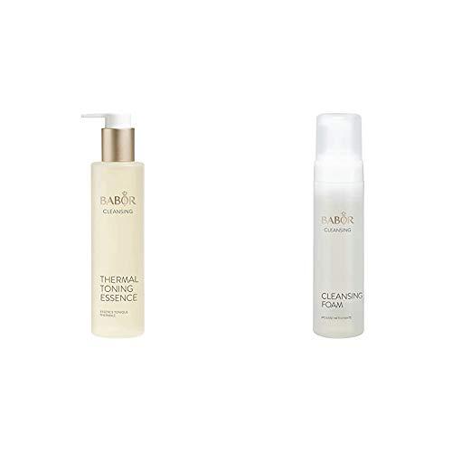 BABOR CLEANSING Thermal Toning Essence, Gesichtswasser für empfindliche Haut, 1 x 200 ml & CLEANSING Cleansing Foam, erfrischender, moussiger Reinigungsschaum, für einen feineren Teint, 1x200 ml