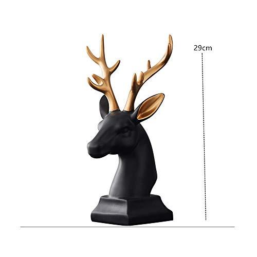 AJLNSL Escultura Decoración Nórdica Creativa del Gabinete del Vino Decoración De La Cabeza De Ciervo Simple Salón De Bodas Sala De Estar Decoración Suavenegro Estatuas
