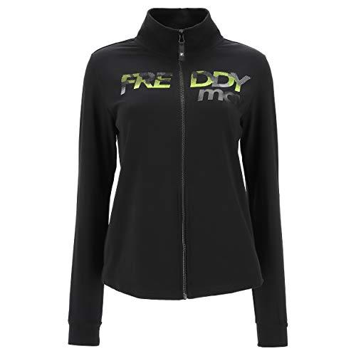 FREDDY Sudadera Fitness MOV con cuello alto y cremallera Black-Fluo Yellow S