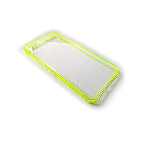Face Mobile Funda TPU Gel Transparente Bordes Colores ANTIGOLPES para BQ AQUARIS M5 Bumper (Amarillo)