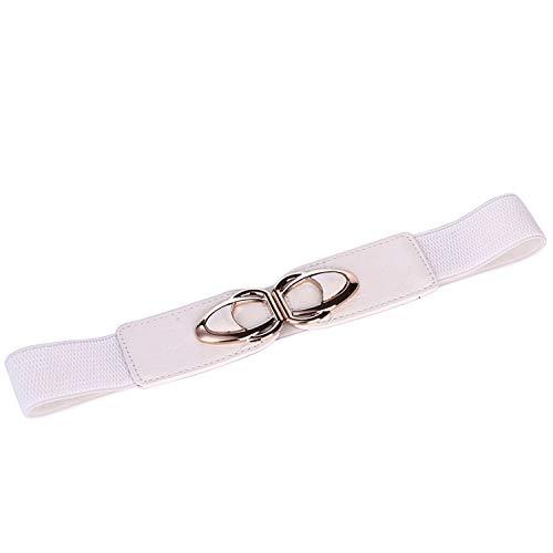 Vrouwen Plus Size Riemen Casual Stretchy Metalen Gesp Tailleband Elastische Dames Taille Riem Ceintuur Vrouwen Voor Jurken-Yf4.0-wit-75cm(78cmto135cm)