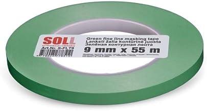 SOLL Afplakband voor het schilderen van groene fijne dunne tape Automotive Voorgevormde flexibele strook (9mm x 55m)