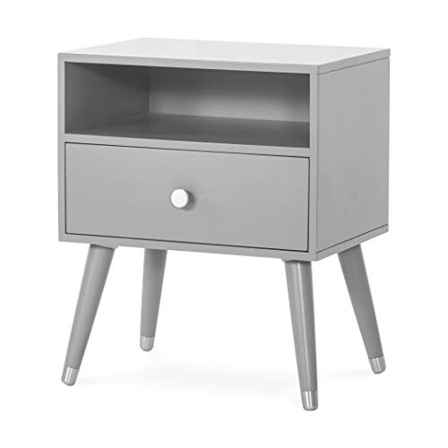 Forever Eclectic Mod Nightstand Accent Table with Shelf and Drawer (Cool Gray)