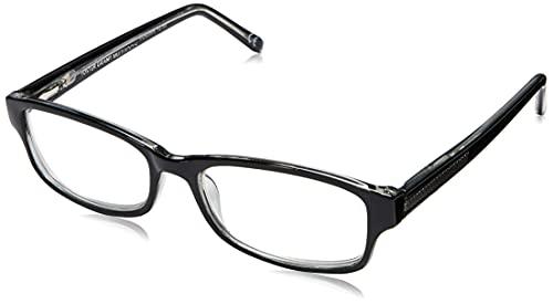 Foster Grant James Multifocus Reading Glasses Rectangular, Black/Transparent, 53 mm + 2