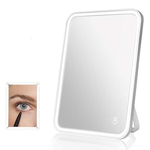 BENMA Kosmetikspiegel mit Touchscreen dimmbaren LED Licht & 5x Vergrößerungsspiegel, 3 wählbaren Farbeinstellungen Beleuchtete Schminkspiegel, USB-wiederaufladbar tragbare Wand Make Up Leuchte