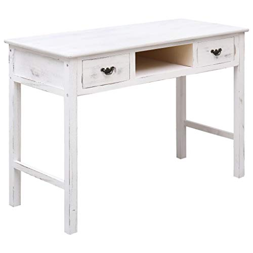vidaXL Holz Konsolentisch mit 2 Schubladen Konsole Beistelltisch Frisiertisch Schreibtisch Telefontisch Flurtisch Antik-Weiß 110x45x76cm