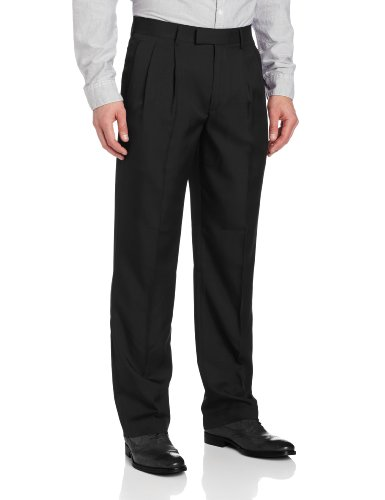 John Henry Men's Double Pleat Modern Fit Crosshatch Microfiber Pant, Black, 36x34