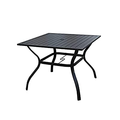 LOKATSE HOME Outdoor Patio Dining Table Square Heavy Duty Furniture with Umbrella Hole