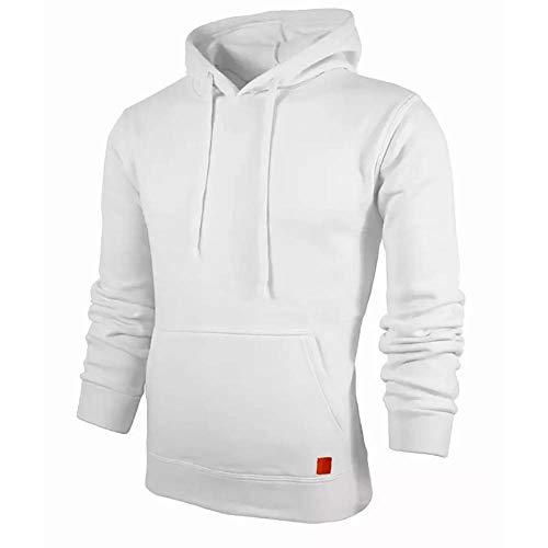ZHOUJEE Men's Hooded Sweater, Personality Plus Velvet Fashion Sweatshirt; White, Yellow Red, Gray, Black, Green, etc.