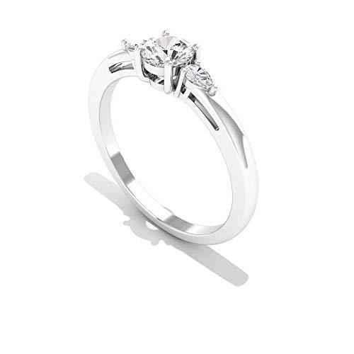 Anillo de boda de oro de diamante certificado SGL de 0,44 ct, declaración de mujeres de tres piedras, HI-SI claridad de color anillo de diamante en forma de pera, 14K Oro blanco, Size:EU 52