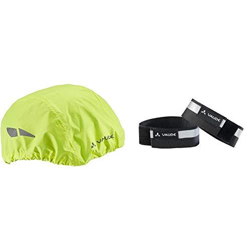 VAUDE Unisex Helm-Regenüberzug für Fahrradhelm & Reflektorbänder Reflective Cuffs, Black, One Size, 133960100
