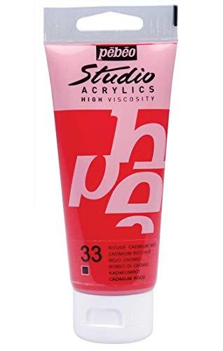 Pebeo – Set di 3 vernici Studio acrilico tubo rosso cadmio imitazione 100 ml