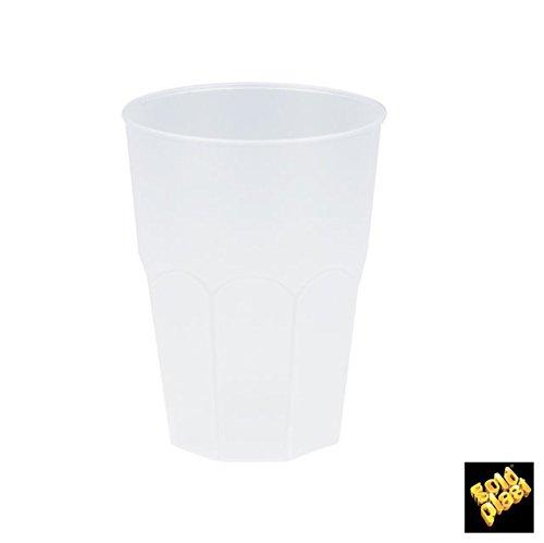 Gobelets en plastique réutilisables noirs, blanc sablé ou transparent forme octogonale (Blanc sablé)