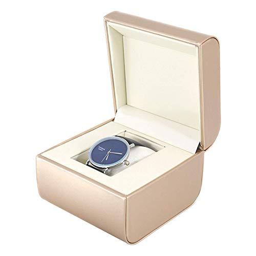 KDMB Caja de Reloj para Hombres y Mujeres Organizador de Vitrina de Reloj de Cuero PU Dorado/Plateado