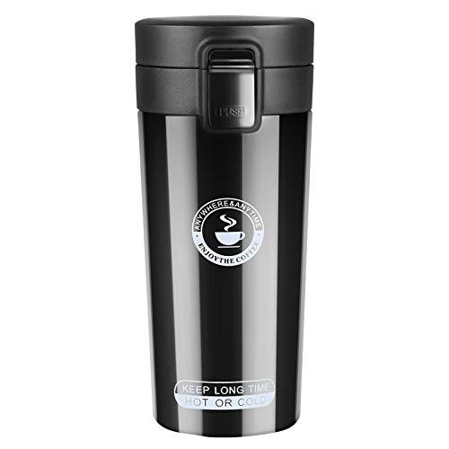 flintronic Tazza Termica, 350ml Tazza per Caffe da Viaggio, Bottiglia di Acciaio Inossidabile Thermos, Coffee Coppa Tazza Termica da Viaggio Ermetica per Mantenere Caldo/Freddo -Viaggio caffè Thermos