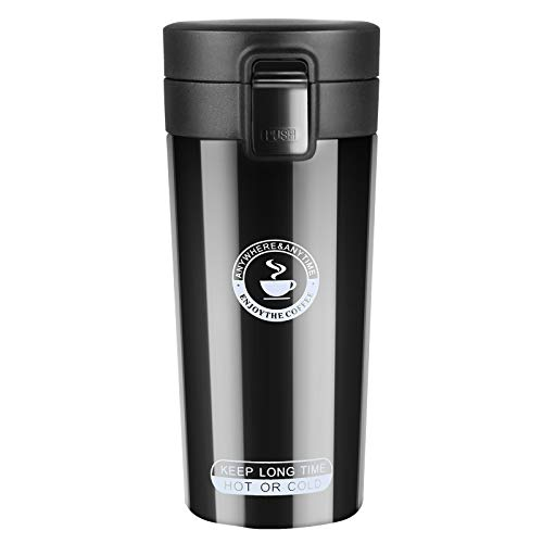 flintronic Kaffeebecher 360 ML Autobecher Travel Mug | Thermobecher, Edelstahl Kaffee-to-Go-Becher | Thermosflasche | Doppelwandig Vakuumisolierter | Isolierbecher BPA Frei | Mug Edelstahl Travel Mug