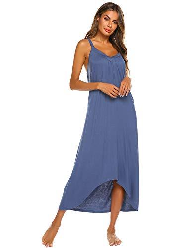 Ekouaer Womens Nightgown Sleeveless Long Nightshirt Sexy Full Slip Night Dress Summer Plus Size Sleepshirt Chemise Blue