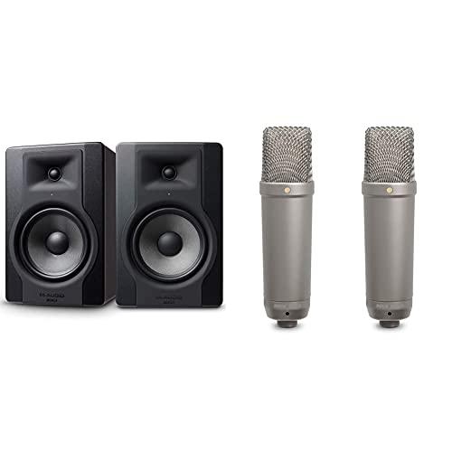 M-Audio Bx8 D3 Pair – Par De Monitores/Altavoces Activos De Estudio Bidireccionales, 150 W + Røde Microphones Nt1-A Micrófono De Diafragma Grande