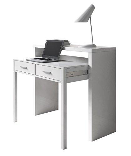 SERMAHOME- Consola Decorativa Extensible Convertible en Mesa Escritorio. Color Blanco Ártico. Medidas Cerrada: 98 x 87 x 36 cm.