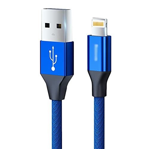 AWYST Cable de cable USB A a cable trenzado de nailon compatible con teléfono 12 11 Pro Max XS XR X 8 7 6S 6 Plus SE 5S multiusos (color: azul, tamaño: 1,2 m)