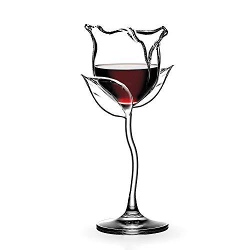 Pazalor Weißweingläser aus Rotweingläser | Weißweinglas, Weingläser mit langem Stiel, Kreative Rosenform, Elegante und Schlichte Weißweinkelche für zu Hause, Party, Geschenkidee (1 Stück)