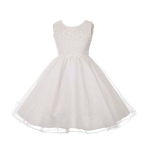 Lito Angels meisjes kralen pailletten plooien tule bruiloft bloem meisje partij jurk