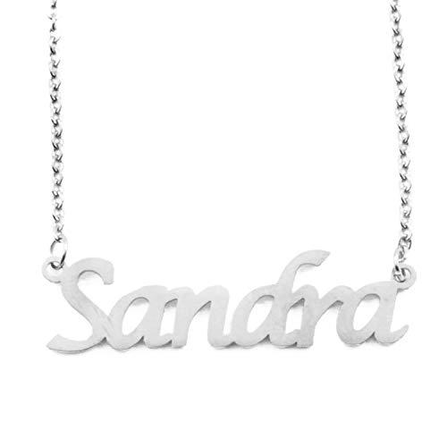 Kigu Sandra Collar con Nombre - Tono Plateado Personalizado - Cadena Ajustable