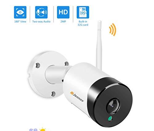 Jennov 180° Weitwinkel Überwachungskamera Panorama 2MP 1080P Full HD WLAN IP Kamera Zweiwege-Audio APP Fernzugriff IR Nachtsicht IP66 wasserdicht Bewegungserkennung mit 32GB Micro SD-Karte Haus Außen