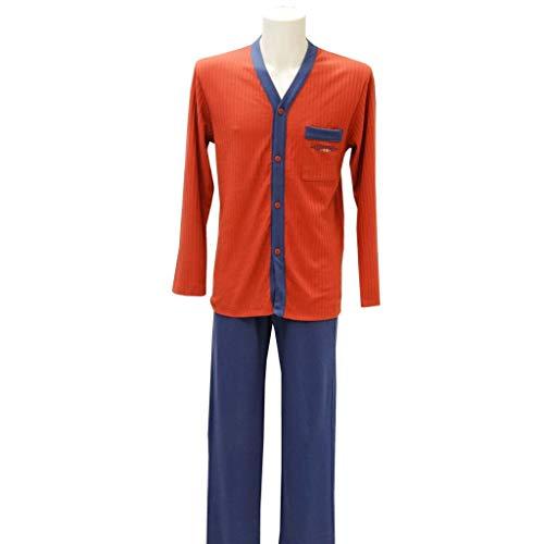 Tessilbianco - Pigiama Uomo Estivo Aperto Manica Lunga Pantalone Lungo - 2315034 - Rame, 48