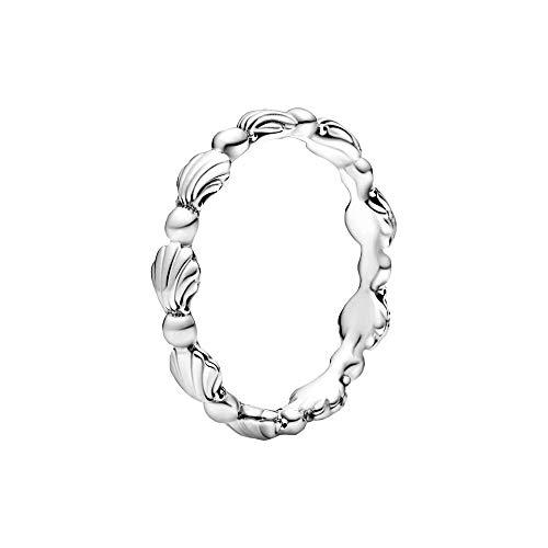 Pandora 198943C00-54 Anillo de concha con perlas, plata, talla 54