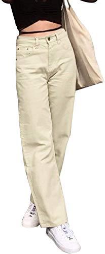 Pantalones vaqueros ajustados clásicos de cintura alta para mujer, corte recto, con bolsillos Albicocca L