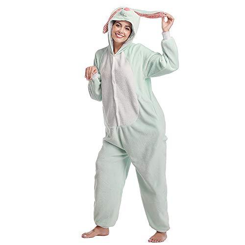 SLDAGe Onesies Deguisement Animaux,Pyjama Mignon De Bande Dessinée De Lapin À Longues Oreilles Femmes Adultes Hommes Cosplay Animal Halloween Homewear,S