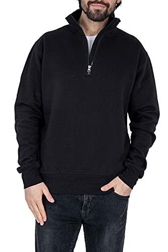 Mivaro Herren Troyer, Pullover mit 1/4 Reißverschluss, hoher Kragen, ohne Kapuze, Größe:XL, Farbe:Schwarz
