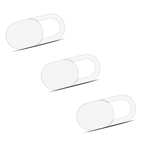Laptop Camera Cover Slide (3 Pack) Webcam Cover Slider Stickers for Computer, MacBook Pro/Air, iPhone, Tablets, PC, iPad, iMac, Cell Phone, Echo Show, Privacy Blocker Sliding Shield,Anti-Spy (White)