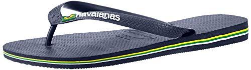 Havaianas Men's Brazil Logo Flip Flop Sandal, Navy Blue, Brazil 43/44, US 11-12