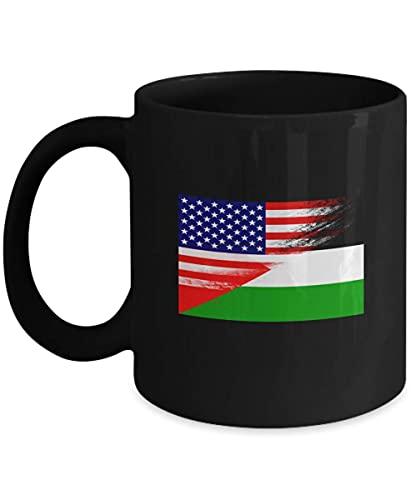 N\A USA Jordan Flag Jordanian 11oz Taza de café Negra Taza de té