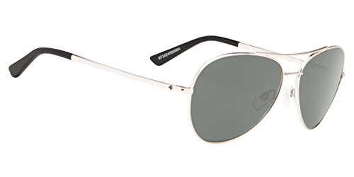 Spy Optics Whistler Aviator Sunglasses, Silver/Happy Gray/Green Polar, 1.5 mm